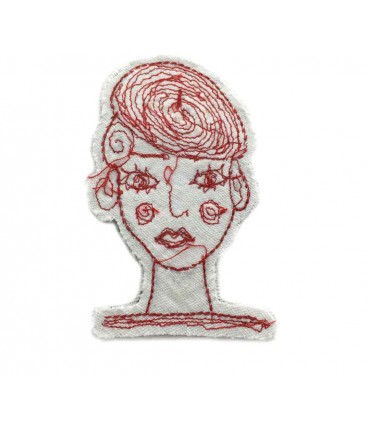 Hand embroidered FRANCESCA NICCHI brooch in cotton with red thread