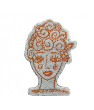 Hand embroidered FRANCESCA NICCHI brooch in cotton with orange thread