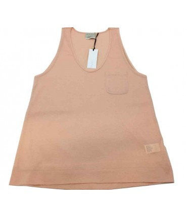 Forte-Forte Vest top in powder pink lisle with pocket
