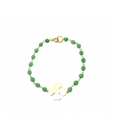 Les jeux des dames bracelet with light green tourmaline and central four-leaf clover