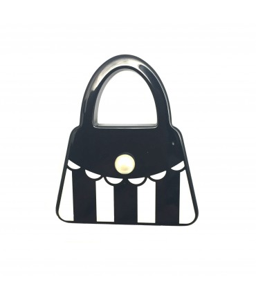 MARINA FOSSATI white / black bag brooch