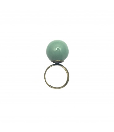 TOLEMAIDE ring with big ceramic green mint marble