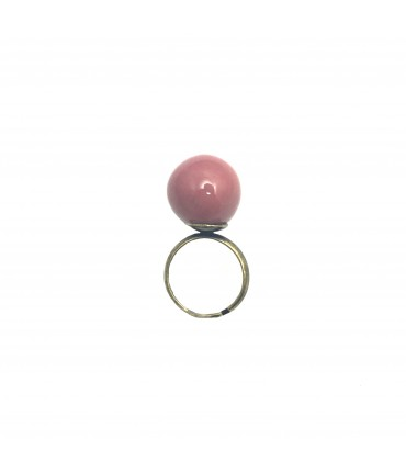 TOLEMAIDE ring with big ceramic pink raspberry marble